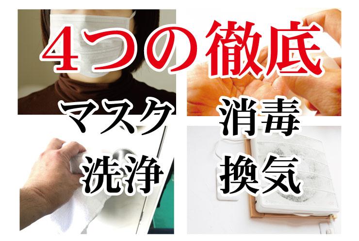 4つの徹底 マスク 消毒 洗浄 換気